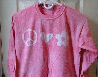 Kids Peace Sign Shirt, Pink Peace Sign Shirt, Girls Peace Sign Shirt, Girls Peace Shirt, Pink Girls Shirt, Long Sleeve Girl Shirt (Youth L)