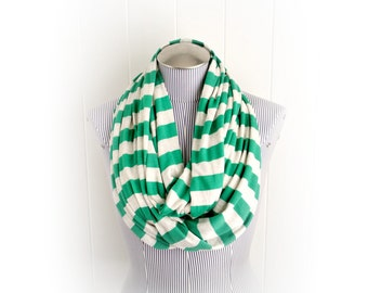 Kelly Green Stripe Infinity Scarf, Bright Green and Light Beige Casual Jersey Loop Cowl Scarf