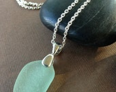 Beach Lover Necklace - Sea Glass Sterling Silver Pendant Necklace