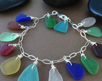 Sand Castle Charm Bracelet - Genuine Surf Tumbled Sea Glass with Sterling Silver