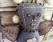 Textile guardian figure - handmade, dried lavender, protective altar figure.