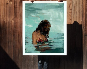 Summer Girl .  extra large wall art . giclee print