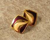 Deep Red Enamel Earrings, Dark Red and Cream Earrings, Wine Red Earrings, Costume Jewelry Earrings, Pierced Earrings, Gold Enamel Earrings
