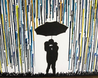 Melted Crayon Art, Rain Painting, Canvas Wall Art, Unique Wedding Gift, Rainbow Raindrops, Couple Wedding Gift, Couple Silhouette 22x28