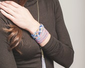 Braided Cuff Bracelet in Blue, Ochre and Lavender