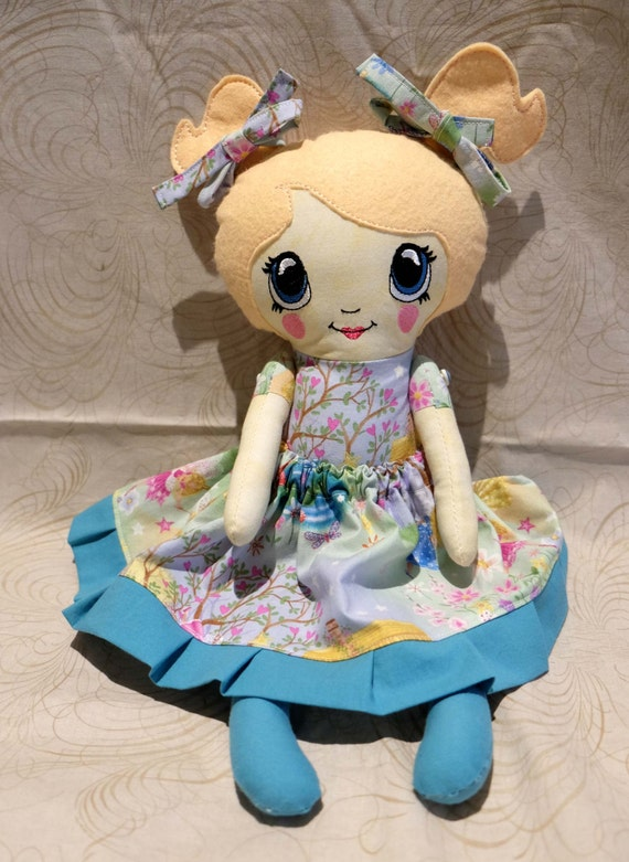 "Fabric Doll 18"" girl retro japanese with dress up clothes hand made one of a kind"