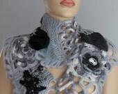 SALE White Grey Black Freeform Knitting Crochet  Scarf - Neck Warmer - Infinity Scarf - Wearable Art / OOAK /  Bohemian Scarf