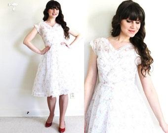 1950s Dress / 50s Dress / 50s Sheer White Wedding Dress