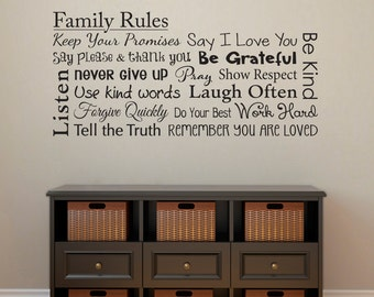 Family Rules Decal - Forgive Quickly - Use Kind Words - Say Please & Thank You - Family Wall Decal - Horizontal Large