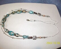Sterling Sliver Terra Jasper  Czech Beads Rodeo Queen Necklace Set  Free Shipping USA