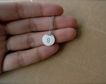 Initial B necklace hand stamped silver disc necklace - Personalized jewelry bridesmaids gift necklace Letter D E F silver charm