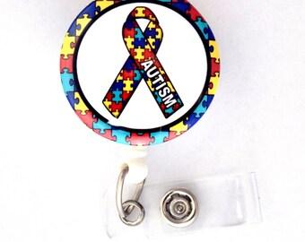 "Autism Awareness Ribbon 1.5"" - ID Badge Holder - ID Badge Reel - Autism Badge Reel - Nursing Badge - Teacher Badge Reel - Medical Badge - RN"
