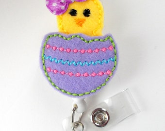 Easter Chick Purple - Retractable ID Felt Badge Holder - Pediatric Badge Reel - Nurses Badge Holder - Nurse Badge - Teacher Badge - NP Badge