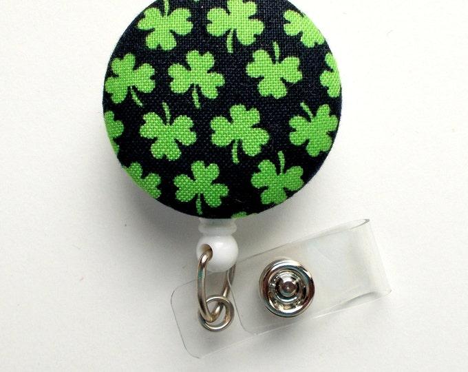 Green and Black Shamrock - Retractable ID Badge - Teacher ID Badge - Nurses Badge Holder - Holiday Badge Reel - St. Patrick's Day Shamrocks