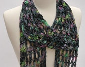 Cotton &Rayon Scarf- Hand Knit/ Green, Mauve, Rose, Gray, Blue