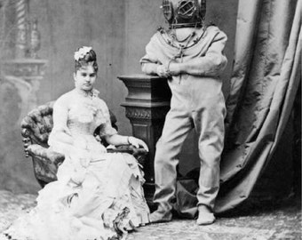 Victorian Lady Deep Sea Diver Weird Vintage Photography Edwardian Goreyesque Addams Family Circus Freaks Odd Sepia Black White Photo Print