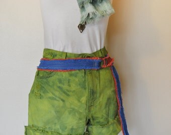 Yellow Sz 13 Levi's Denim SHORTS - Chartreuse Green Ombre Dyed Urban Denim Vintage Levi's 550 Cut Off Shorts - Adult Womens Size 13 (32)