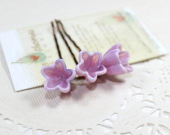 flower hair pins, pastel floral hair clips, set of 3, Blush pink