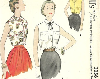 McCalls 3056 Vintage 50s Sewing Pattern // Blouse // Size 16 Bust 34