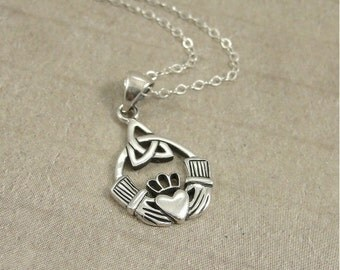 Claddagh Necklace, Sterling Silver Claddagh Symbol Charm on a Silver Cable Chain