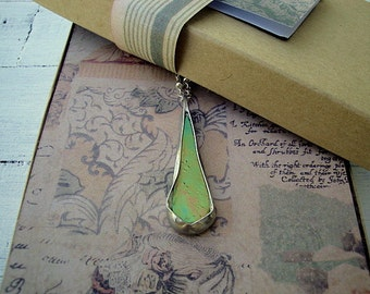 Amber Iridescent Stained Glass Necklace