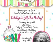 Candy Birthday Invitation Photo Birthday Invite Candy Theme Birthday Sweet Theme Invite Printable Invitation Custom Invitation Sweet Shoppe
