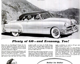 1952 Pontiac Classic Car Ad Print Poster Mid Century General Motors GM - Mechanic Shop Garage Man Cave Bar Pub Tavern  Wall Art Home Decor