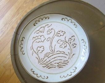 4 Yamaka Candlewick Stoneware Salad Plates Japan Beige Brown Cream Billowy Clouds Trees Scenic Midcentury Modern