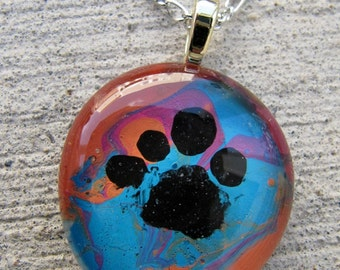 Pet Paw necklace glass multi colored