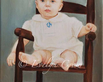 "RETRO style Child Oil Portrait from photo 12x16"" (Half / full body)"