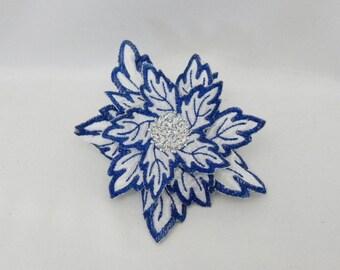 Snow Flower embroidered flower hair clip