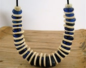 Dutch Blue Dogon Necklace Vintage Cobalt Blue Glass Rings with African Ostrich Shell Beads on Leather Earthy Ethnic Jewelry