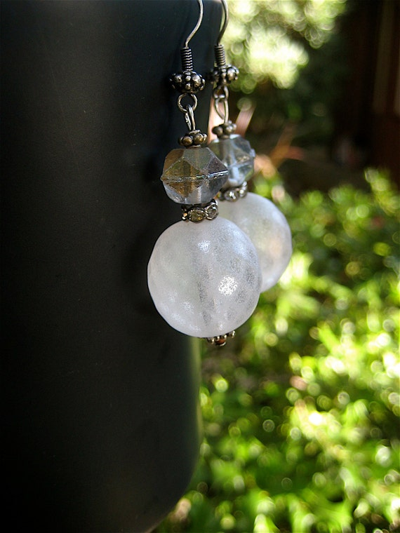 Winter Moon Earrings Frosted White Czech Glass Globes with AB Grey Glass Accents on Silver Plated Hooks Snowball Earrings