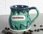 Ceramic Coffee mug, BlueRoomPottery cup, Make it Happen, mint green inspirational Handmade POTTERY mugs amazing kitchen Gift Idea For Her