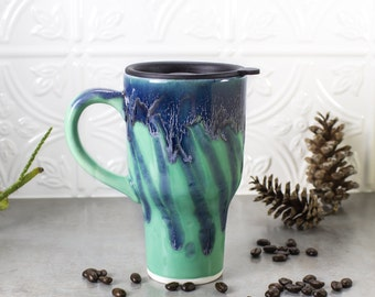 Ceramic Coffee Travel mug with handle, gift for DAD, Mint Green Blue with black lid pottery, greenery Kitchen, gift for him, for her