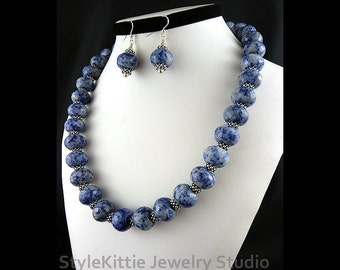 Faceted Sodalite Rondelles, Adjustable Necklace, Dangle Earrings, 925 Sterling Silver, Two Piece Set, Denim Blue, White, Gemstone, Jewelry
