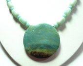 Amazonite Necklace Scenic Seascape in Natural Amazonite Gemstone Necklace with Sterling
