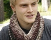 Crochet mens cowl Knit infinity scarf Pure wool Handmade Unisex neckwarmer Valentine's gift under 50 Beige chocolate brown