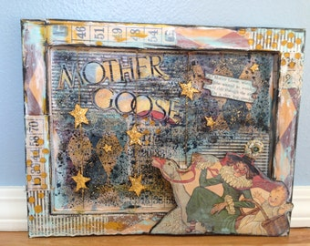 """Nursery Rhyme - """"Mother Goose"""" Inspired Dimensional Canvas - Featured in Somerset Studio (July/Aug 2013)"""