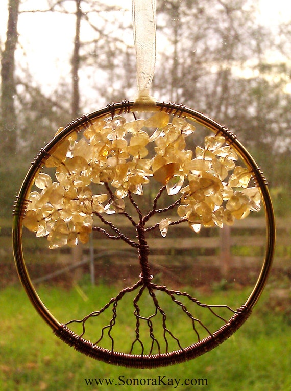 Citrine Gemstone Tree of Life Window or Wall Ornament  Made to Order 3 inches in diameter ships USPS Priority USA FC International