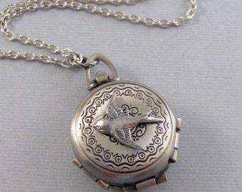 Enchanted Sparrow,Sparrow Locket,Sparrow Necklace,Silver Locket,Silver Necklace,Bird,Bird Necklacet.Pill Box,Compartme.Valleygirldesigns.