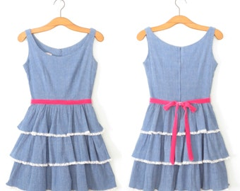 Vintage 60s Dress * 1960s Mini Dress * Chambray Ruffle Lace Dress * XXS