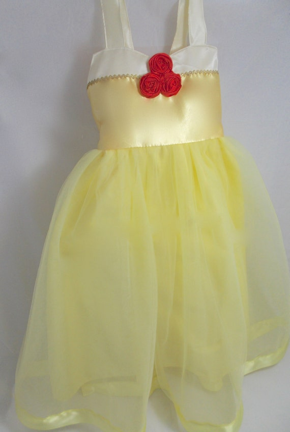 Belle Tutu Dress: yellow with red roses beauty and the beast