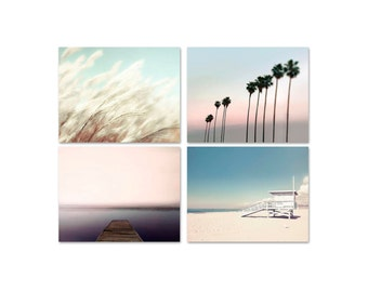 SALE, Pastel Beach Prints Pink Blue- Palm Art Print- Ocean- Beach Decor- Pastel Set of 4 Prints