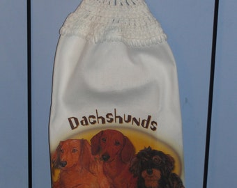 Dachshund Crocheted Kitchen Dish Towel