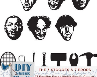 DIY eBook Tutorial 3 Stooges Shrink Plastic Charms Jewelry Instant Download Printable Clip Art