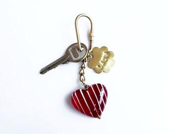 Personalized Keychain, Heart Keyring, Women Keychain,  Bag Decoration Accessory
