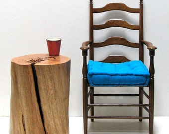 Wood Stump Side Table Night Stand Rustic Modern