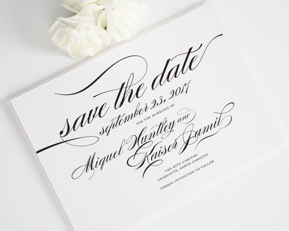 Custom Save the Date Card or Wedding Announcement in Black and White - Marriage Design Deposit