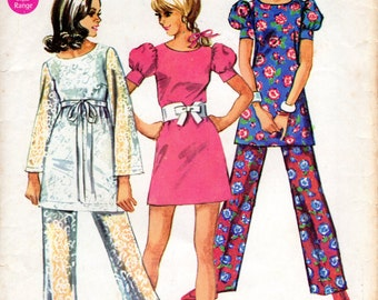 1960s Mini Dress and Pants Pattern - Vintage Simplicity 8608 - Size 9/10